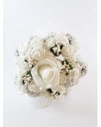 Бял букет с перли