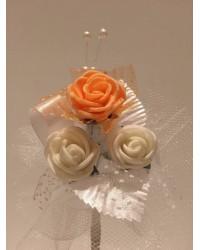 Лукс бутониера с роза в цвят праскова