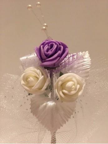 Лукс бутониера с лилава роза
