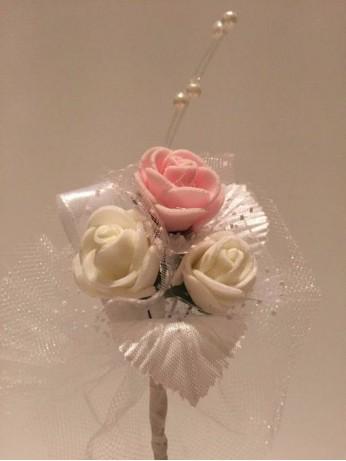 Лукс бутониера с розова роза
