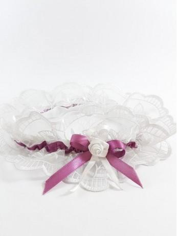 Луксозен жартиер в бял и лилав цвят