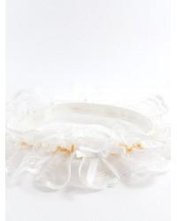 Луксозен жартиер в бял и оранжев цвят