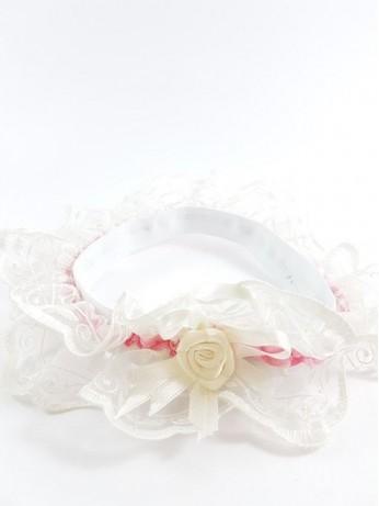 Луксозен жартиер в бял и розов цвят