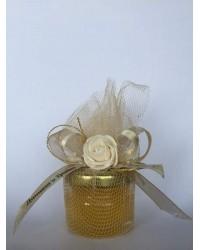 Бурканче с мед със златист галон