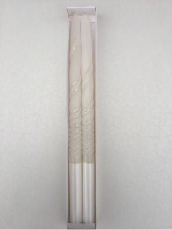 Нежни ритуални свещи със сребърни орнаменти в комплект от 2 броя
