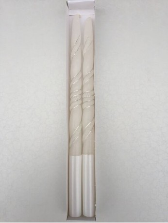 Нежни сватбени свещи със сребърни орнаменти в комплект от 2 броя