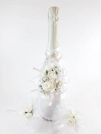 Комплект шампанско и украса за чаши