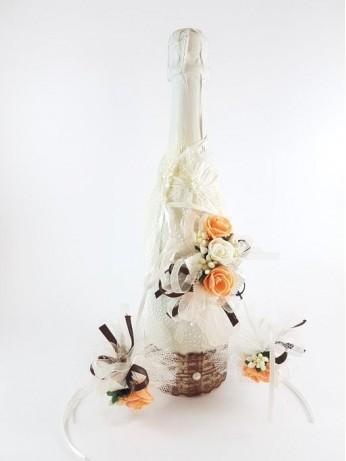 Уникален комплект шампанско и украса за чаши модел 6