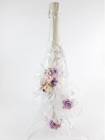 Сватбен комплект шампанско и украса за чаши