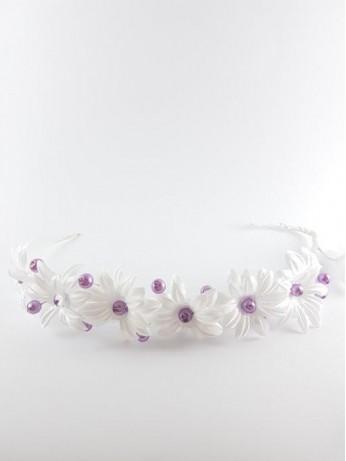 Венче с лилави перли